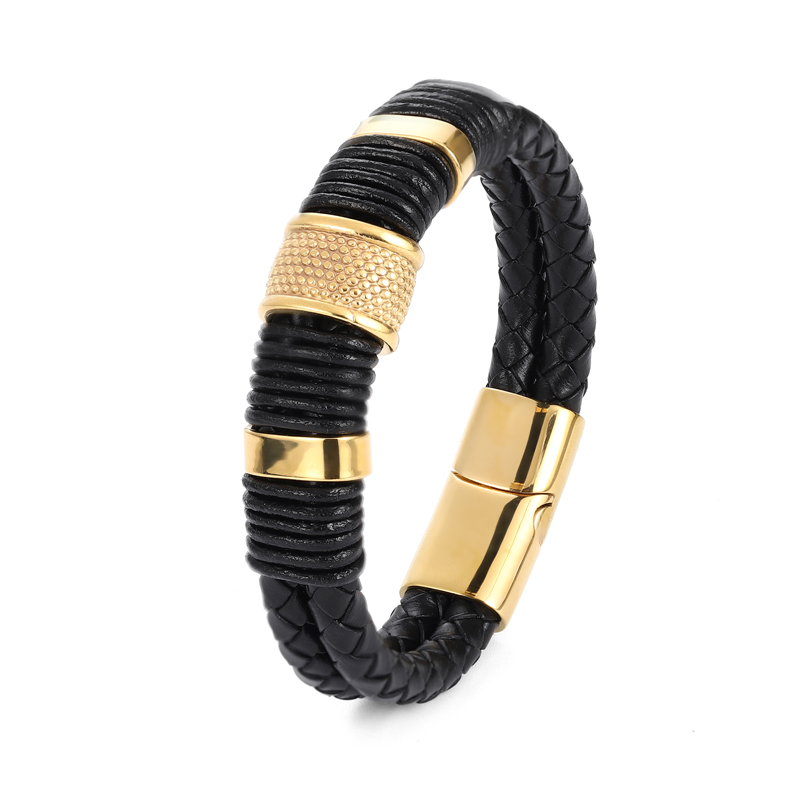 MingAo-Bracelets magnétiques en acier inoxydable pour hommes, bijou Charkra noir, de Tennis en cuir, accessoires, bijoux, amis 6