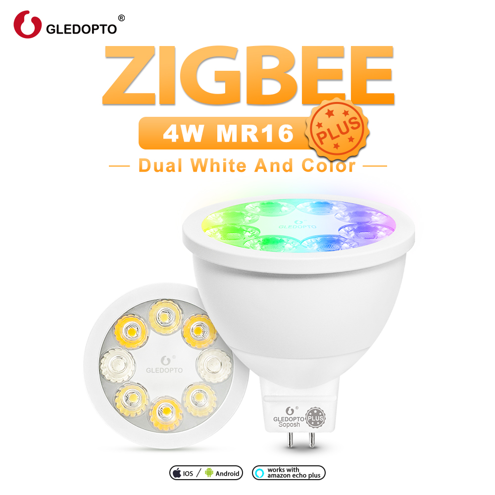 GLEDOPTO Zigbee Smart Rgb White Color Mr16 Plus Smart Spotlight Bulb DC12V Work With Alexa Echo Plus Voice Control ZigBee Hub
