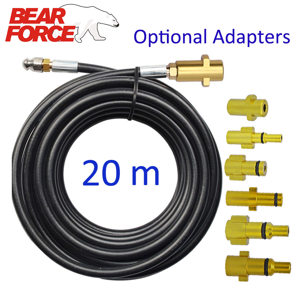 20m Sewer Drain Water Cleaning Hose Sewage Pipe Blockage Clogging Hose Cord Nozzle For Karcher Bosch High Pressure Jet Washer