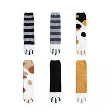 Kawaii/модные, милые, 3D унисекс носки из кораллового флиса с забавными кошками когти короткие носки с мультипликационным принтом в виде забавной лапы животного; оригинальные носки Для женщин Зебра с изображением кота Тигра «Щенячий патруль»