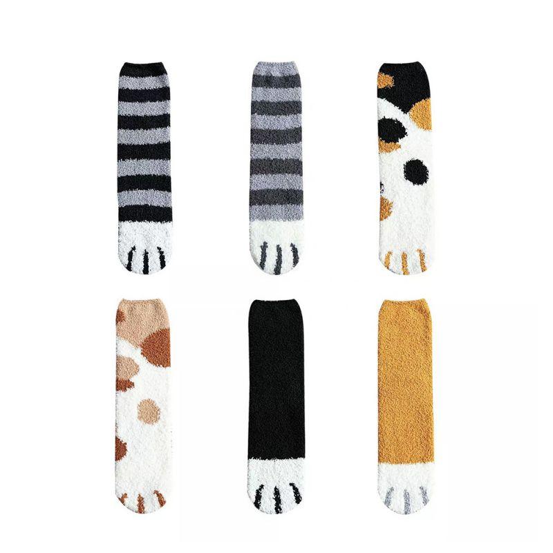 6PCS Kawaii 3D Unisex Coral Fleece Socks Cute Cats Claws Short Socks Cartoon Funny Animal Paw Socks Women Zebra Tiger Cat Paw