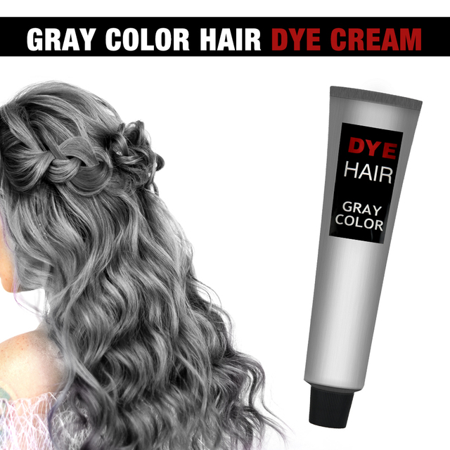 Gray Hair Dye Cream Punk Style Nature Permanent Light Grey Silver Unisex Hair Dye Color Cream Cosmetic Beauty Hair Care