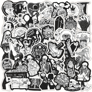 50Pcs Pack Horror And Thriller Gothic Wind Graffiti Stickers Skateboard Luggage Motorcycle Laptop Guitar Kids Toy Decal Stickers