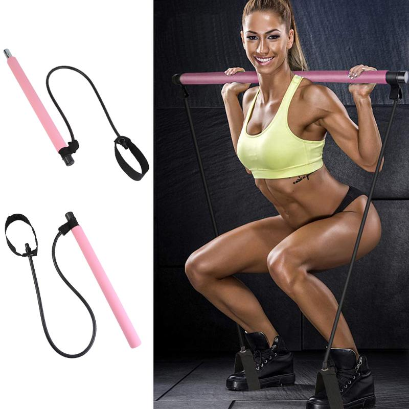 Gym Portable Pilates Bars Stick Good Toughness And Strong Endurance With Resistance Band For Home Fitness Workout