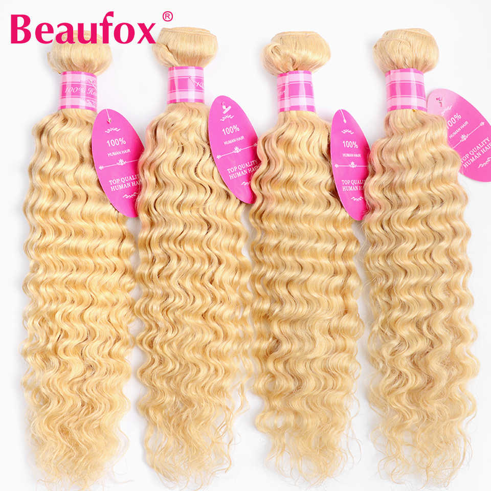 Beaufox 613 Blonde Human Hair Bundles Malaysian Deep Wave Bundles Remy 613 Blonde Hair Extension 3/4 Pcs Lot 8-26 Inches