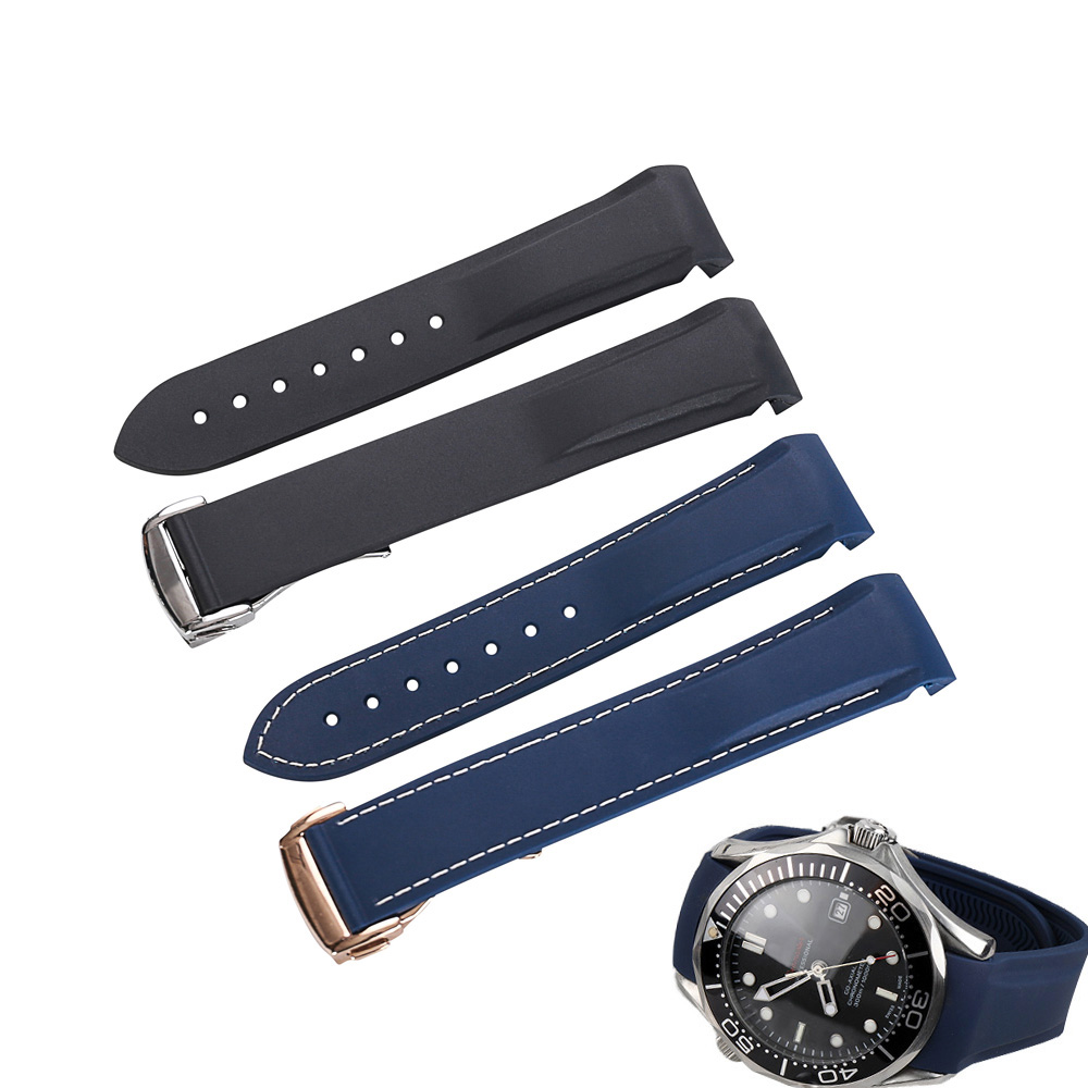 Silicone Watch Bands For Omega Seamaster Ocean Watch Band Strap High Quality Watch Bracelet Rubber Sports For Longines 20mm 22mm