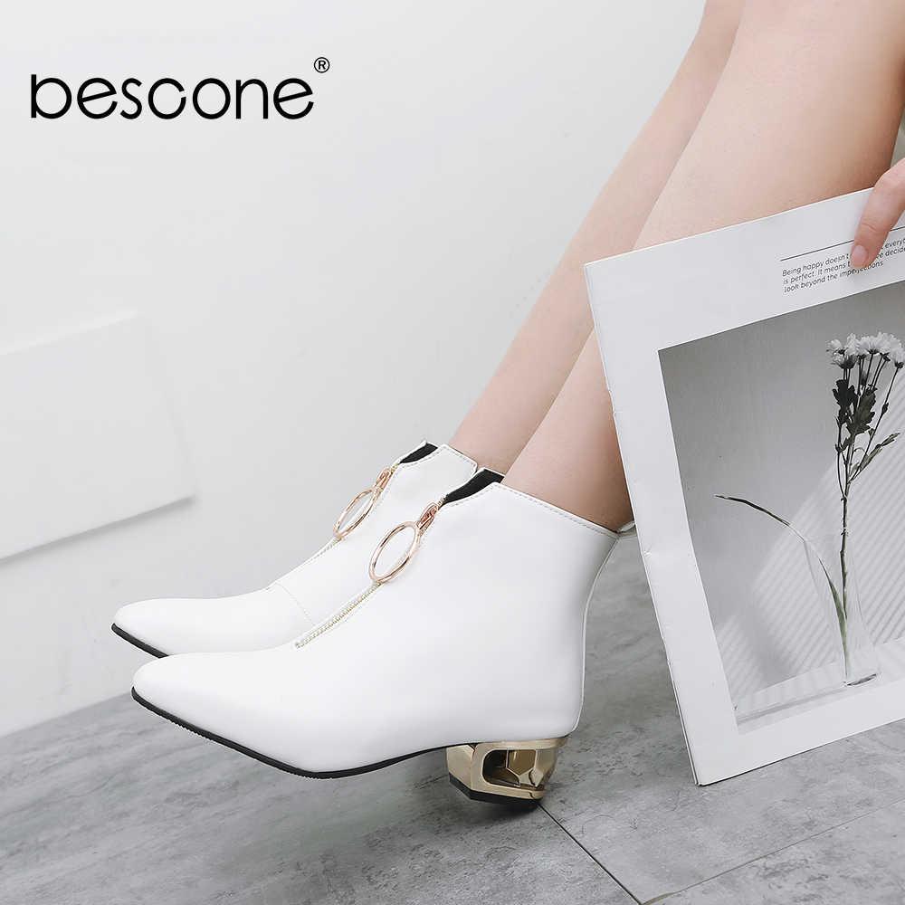 BESCONE kadın orta buzağı botları kış sivri burun kare topuk Metal dekorasyon ayakkabı temel katı sıcak Med topuk bayanlar çizmeler BM227