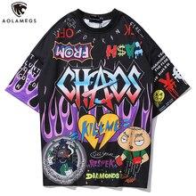 Aolamegs T Shirt Men Graffiti Cartoon Printed Mens Tee Shirts Short Sleeve T Shirt Fashion High Street Tees Summer Streetwear