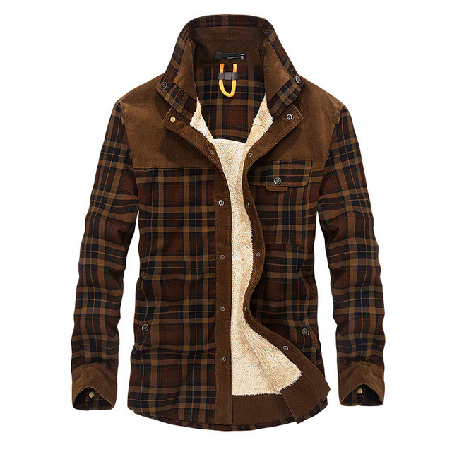 Autumn and winter men's jacket casual shirt plus velvet jacket business casual large size coat