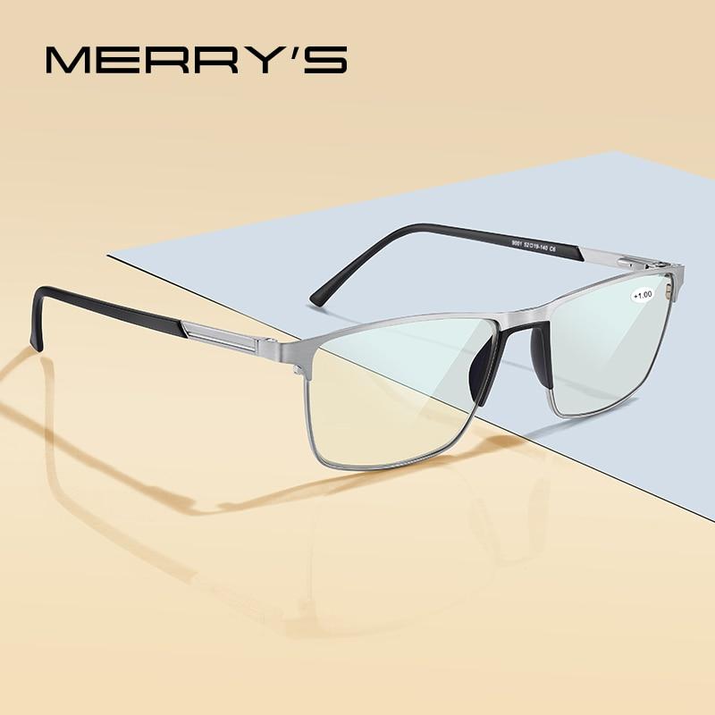 MERRYS-gafas de lectura con bloqueo de luz azul para hombre, lentes de resina CR-39, gafas asféricas + 1,00 + 1,50 + 2,00 + 2,50 S2001FLH