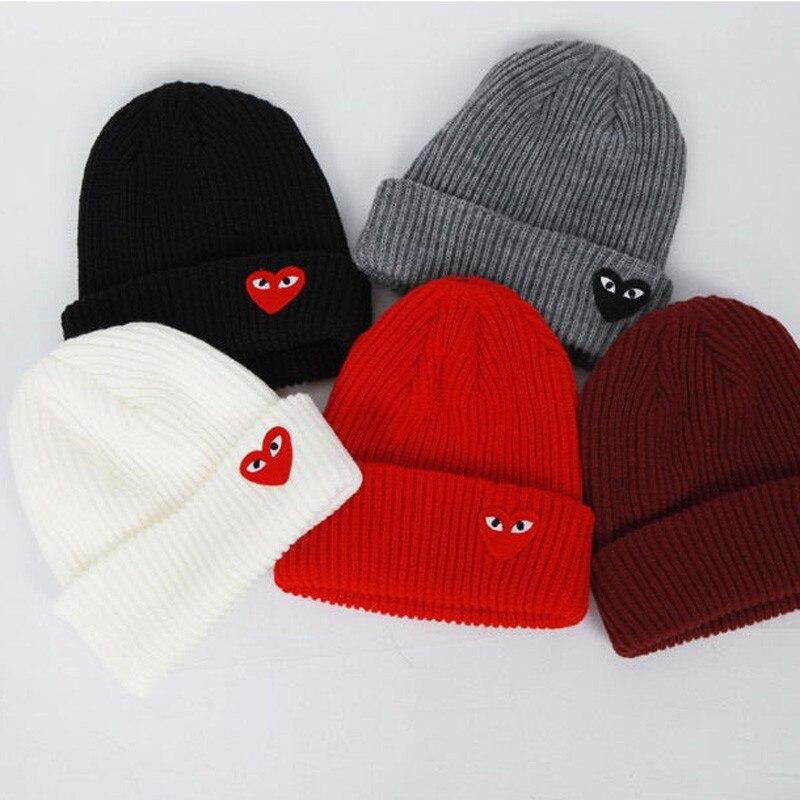 2019 Winter Woman Warm Hats Heart Eyes Cartoon Label Beanies Knit Hat Toucas Bonnet Hats Man Hat Crochet Cap Skullies Gorros