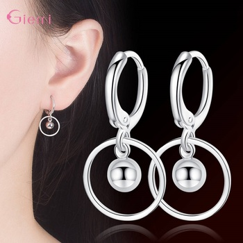 New Fashion 925 Sterling Silver Water droplet Earring for Women Girl Circle Dangle Earrings Jewelry Brincos Gift 4