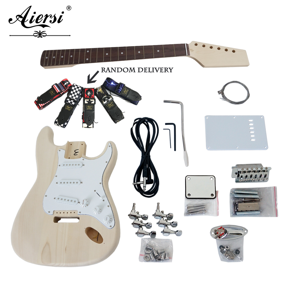 Aiersi Custom solid wood DIY Strat Style guitar kit Electric Guitar Kits sets with all parts Model EK-001 image