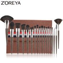 ZOREYA , 18 шт ., кисти для макияжа, Профессиональные синтетические кисти для макияжа, набор, пудра, основа для губ, тени для век, косметические инструменты , набор