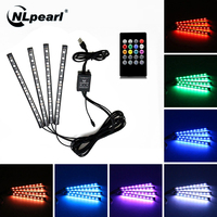 NLpearl 4 stücke Musik Control Auto Innen Licht Dekoration RGB LED Streifen Lichter mit Fernbedienung USB Atmosphäre Dekorative Lampe 12V 5V