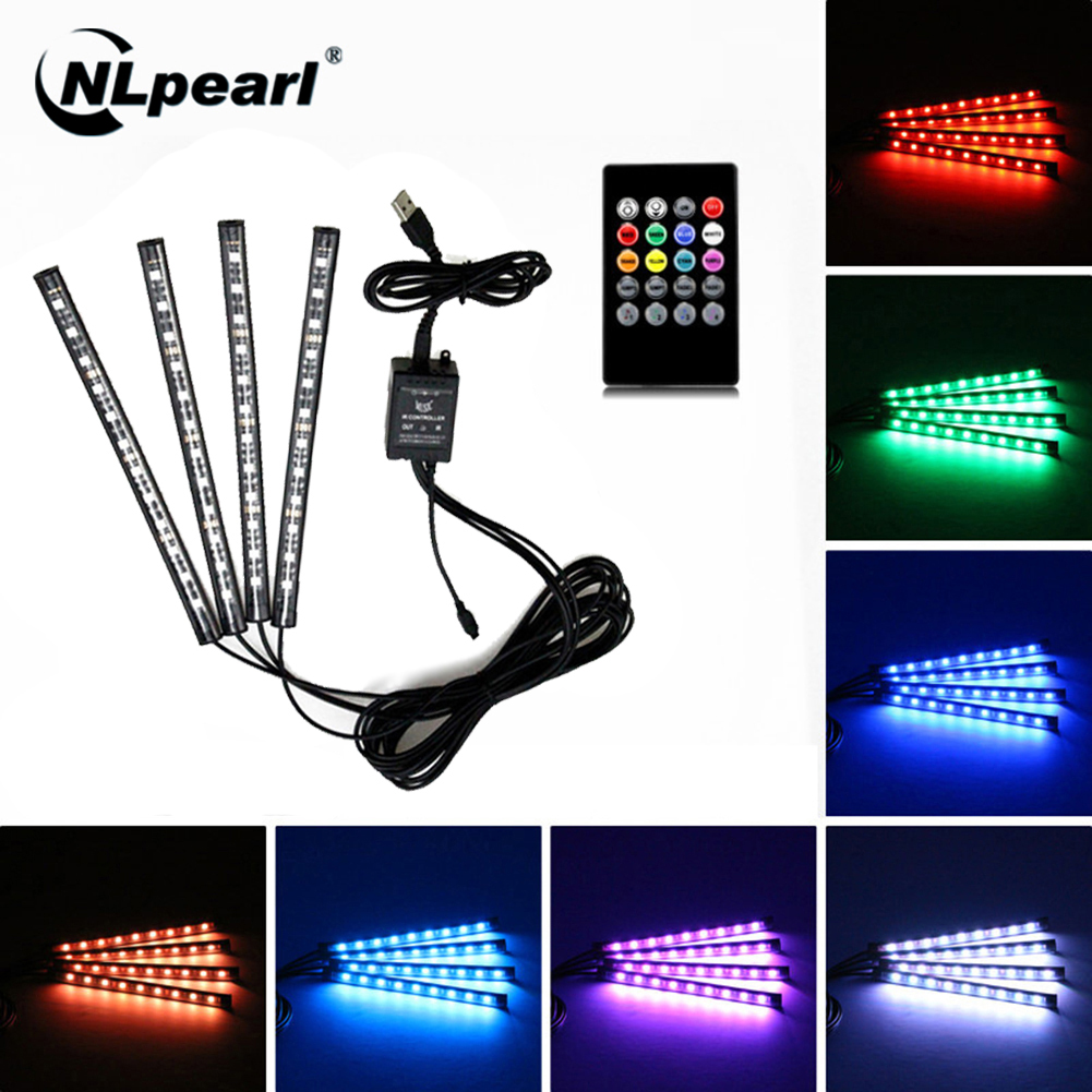 NLpearl 4pcs Music Control <font><b>Car</b></font> Interior <font><b>Light</b></font> Decoration <font><b>RGB</b></font> <font><b>LED</b></font> <font><b>Strip</b></font> <font><b>Lights</b></font> with Remote USB Atmosphere Decorative Lamp 12V 5V image