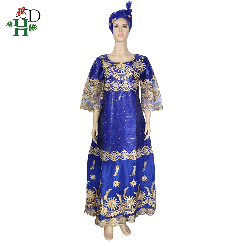 H&D African Lace Dresses For Women Bazin Riche Embroidery Gele Headtie South Africa Dashiki Kanga Dress Evening Party Dresses