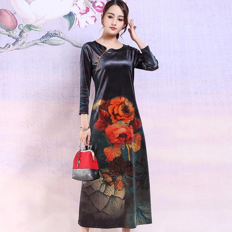 Garden Treasure 2019 Autumn New Style WOMEN'S Dress Modified Cheongsam Dress Mid-length Middle-aged Women Dress Gold Velvet Skir