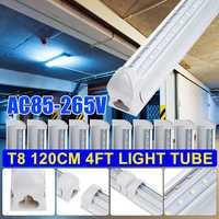 10PCS T8 LED Licht Rohr 4FT 120CM 36W 4 Fuß Dual Reihe V Geformt LED Shop Licht decke Unter Schrank Licht 6500K Weiß AC85 265V-in LED-Birnen & Röhren aus Licht & Beleuchtung bei