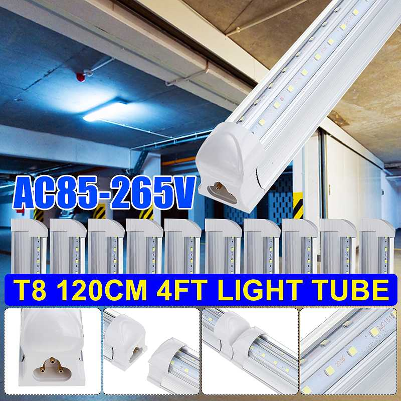 10PCS T8 LED Light Tube 4FT 120CM 36W 4Foot Dual Row V Shaped LED Shop Light Ceiling Under Cabinet Light 6500K White AC85-265V