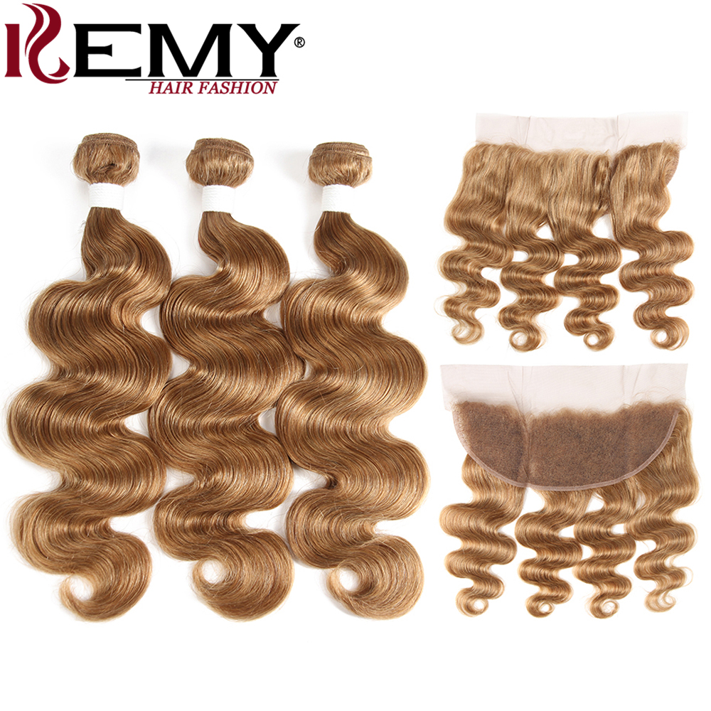 Light Brown 27# Brazilian Body Wave Human Hair Bundles With Frontal 13*4 KEMY HAIR 100% Non Remy Human Hair Weaves Bundle 3/4PCS-in 3/4 Bundles with Closure from Hair Extensions & Wigs