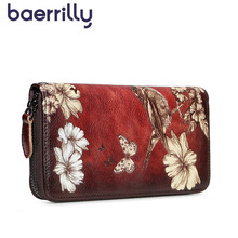 2019 Genuine Leather Women Wallet Long Clutch Bags Flowers Womens Wallets And Purses Female Rfid Card Holders Coin Purse Girl cheap baerrilly Cow Leather 200g 10cm Floral Chinese Style 3332 Note Compartment Photo Holder 2 5cm 19 5cm zipper Standard Wallets