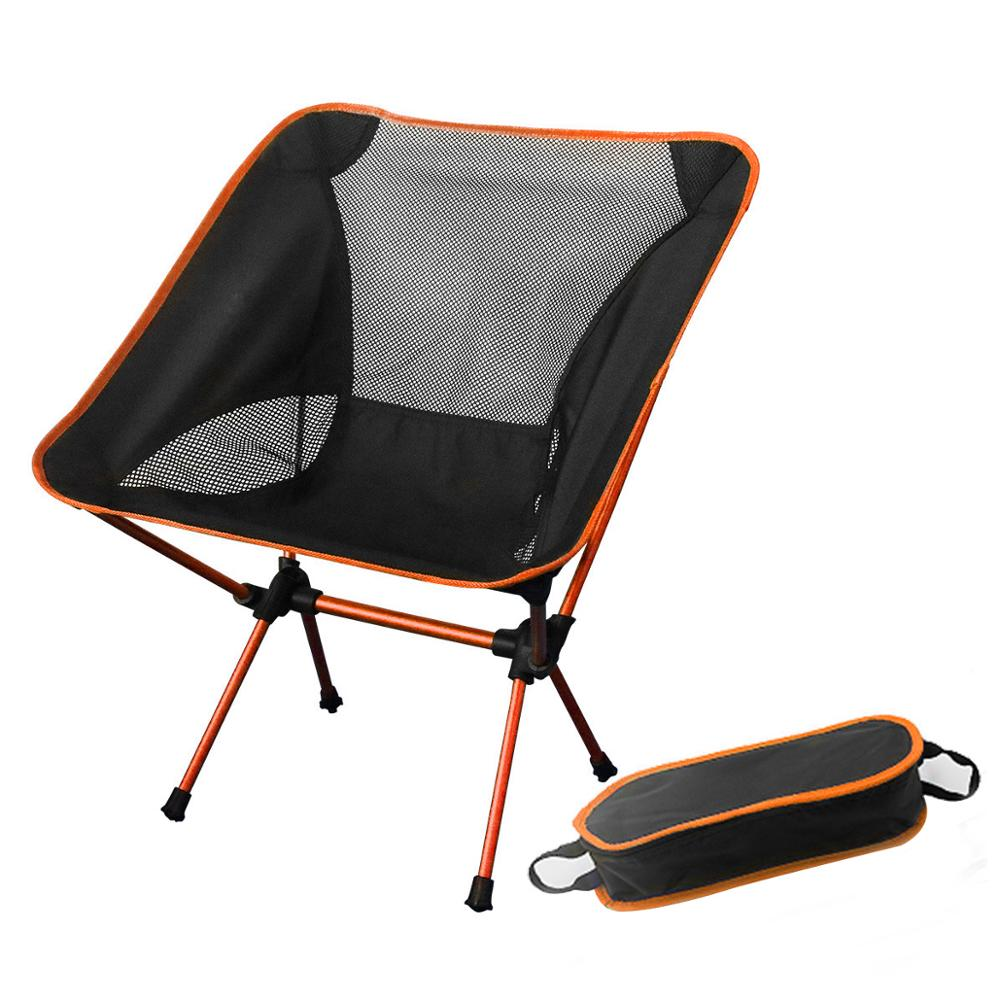 On Sale Orange Portable Moon Chair Fishing Camping Folding Extended Hiking Seat Light Outdoor Chair Home Furniture