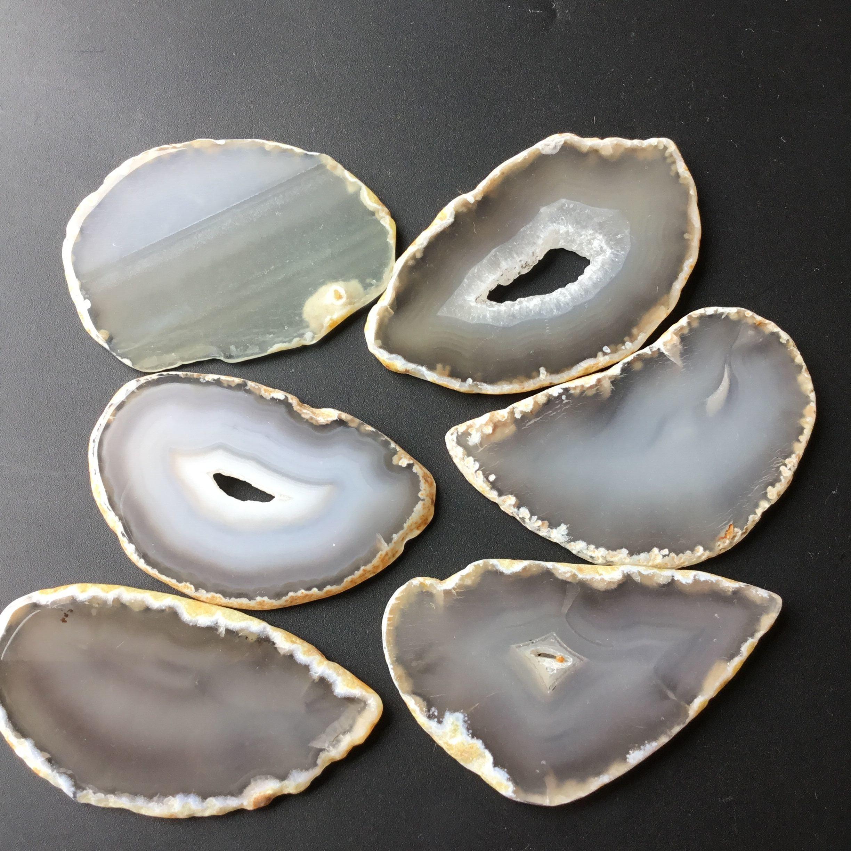 6pcs Natural White Agate Slice Grey Agate Stone Slices