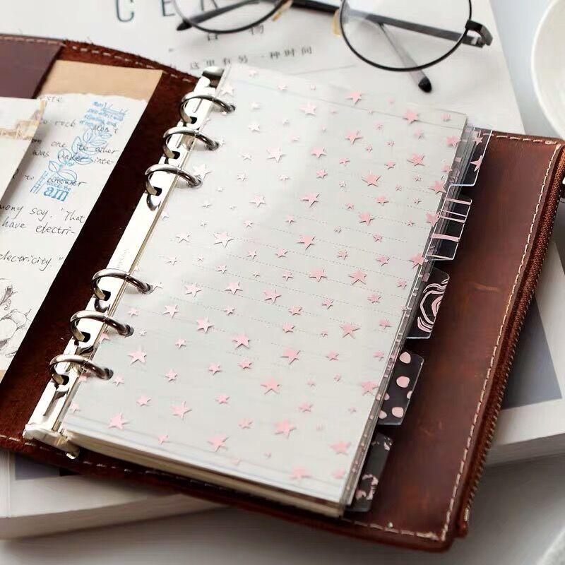 Spiral Binder для ноутбука Sharkbang, 5 шт., ПВХ, kanintendo, красивая звезда, A5, A6, разделители страниц, дневник, канцелярские принадлежности