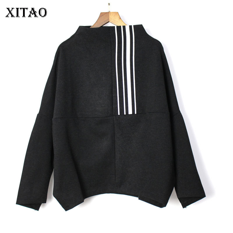 [XITAO] Europe Fashion New 2019 Spring Women Turtleneck Full Sleeve Loose Top Female Pullover Match All Sweatshirt ZLL3289