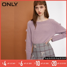 ONLY new round collar knit sweater Women| 118313566 navy round collar dropped shoulder knit sweater