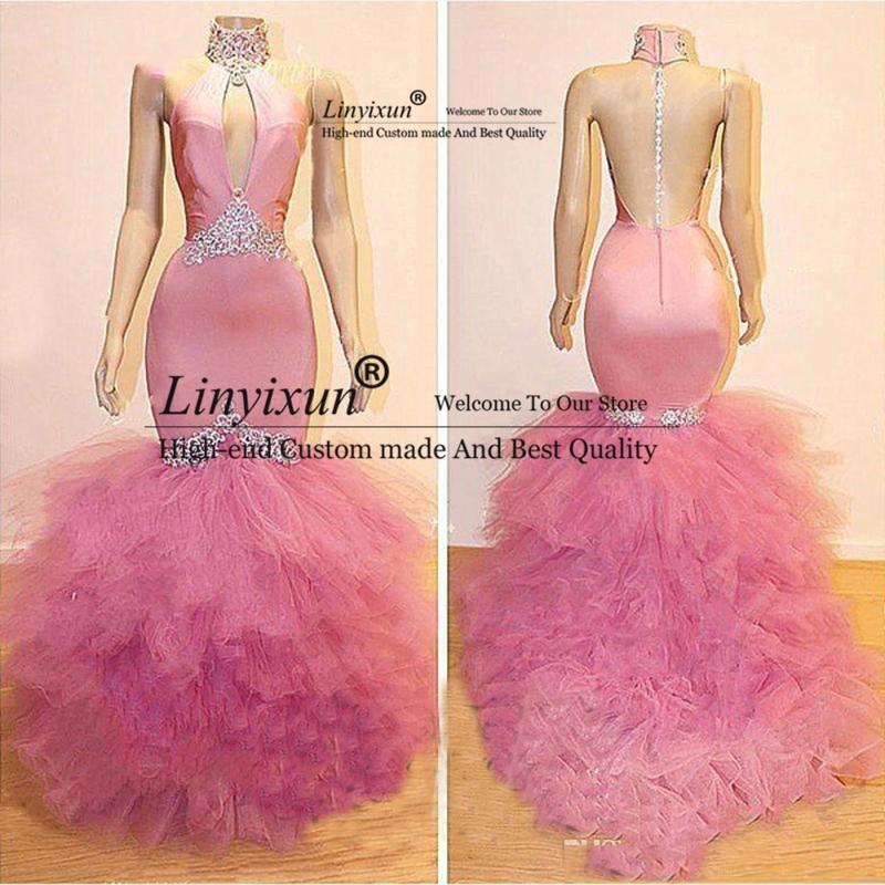 Sexy vestidos de fiesta de sirena Rosa cristal ver a través de la espalda vestidos de noche 2020 tutú volantes cuello alto vestidos formales abendleider