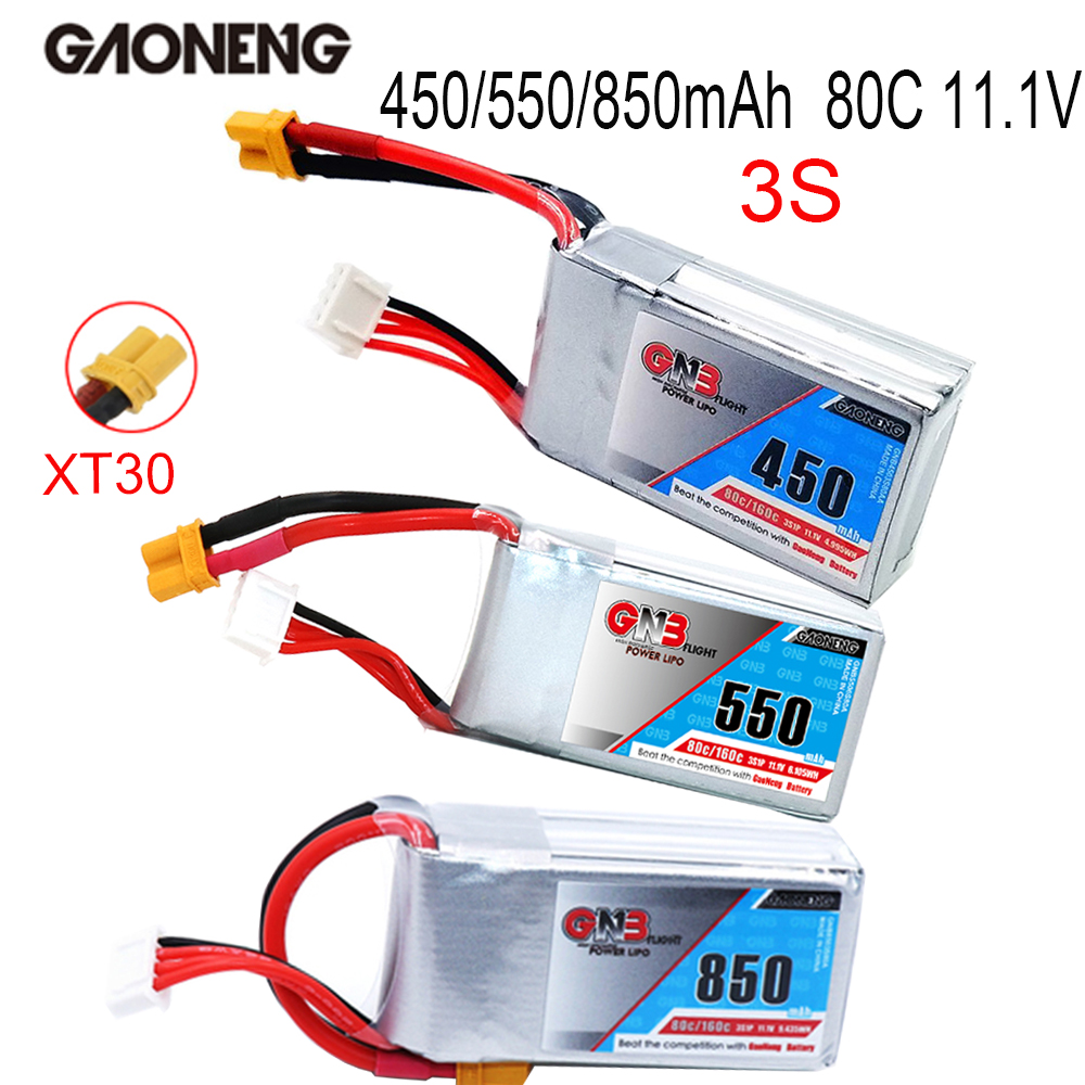 Gaoneng GNB 11.1V 450/550/850mAh 80/160C 3S Lipo Battery Rechargeable XT30 Plug Connector For Eachine Lizard95 FPV RC Quadcopter
