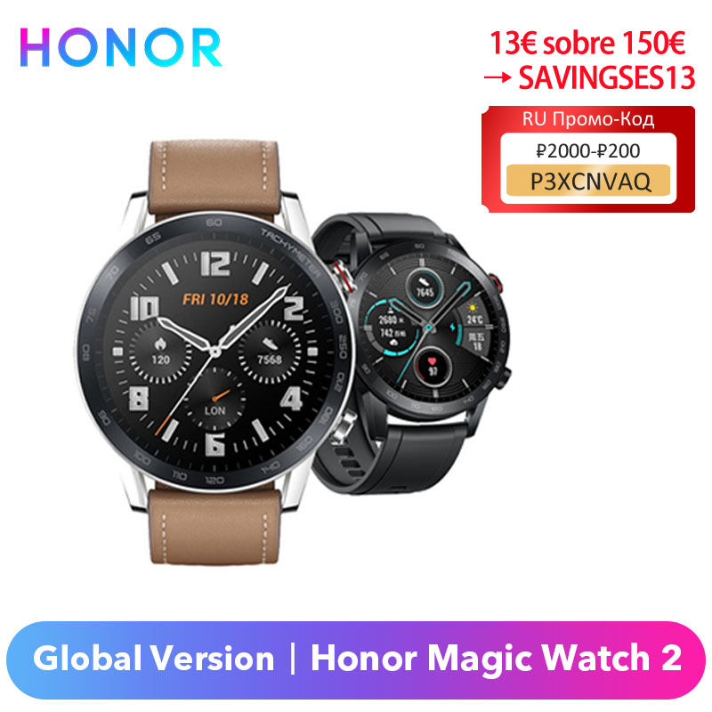 Оригинальный Honor Magic Watch 2 Smart Watch глобальная версия 42 мм/46 мм Honor Magic часы Spo2 кислород в крови сердечный ритм Водонепроницаемый