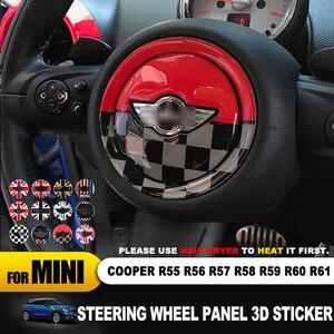 Image 2 - Para mini cooper r55 r56 r57 r58 r59 r60 r61 clubman countryman volante centro 3d dedicado adesivo do carro decalque capa 2 pçs