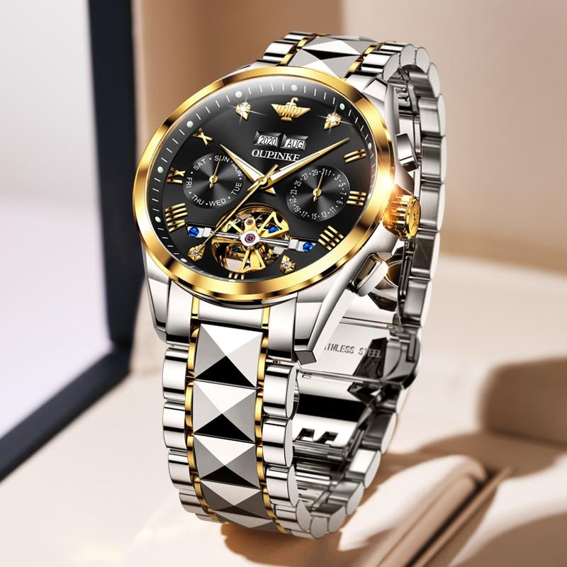 2020 Luxury Men Mechanical Wristwatch Tungsten Steel Tourbillon Watch Sapphire Glass Men Watches reloj hombre OUPINKE Brand 3