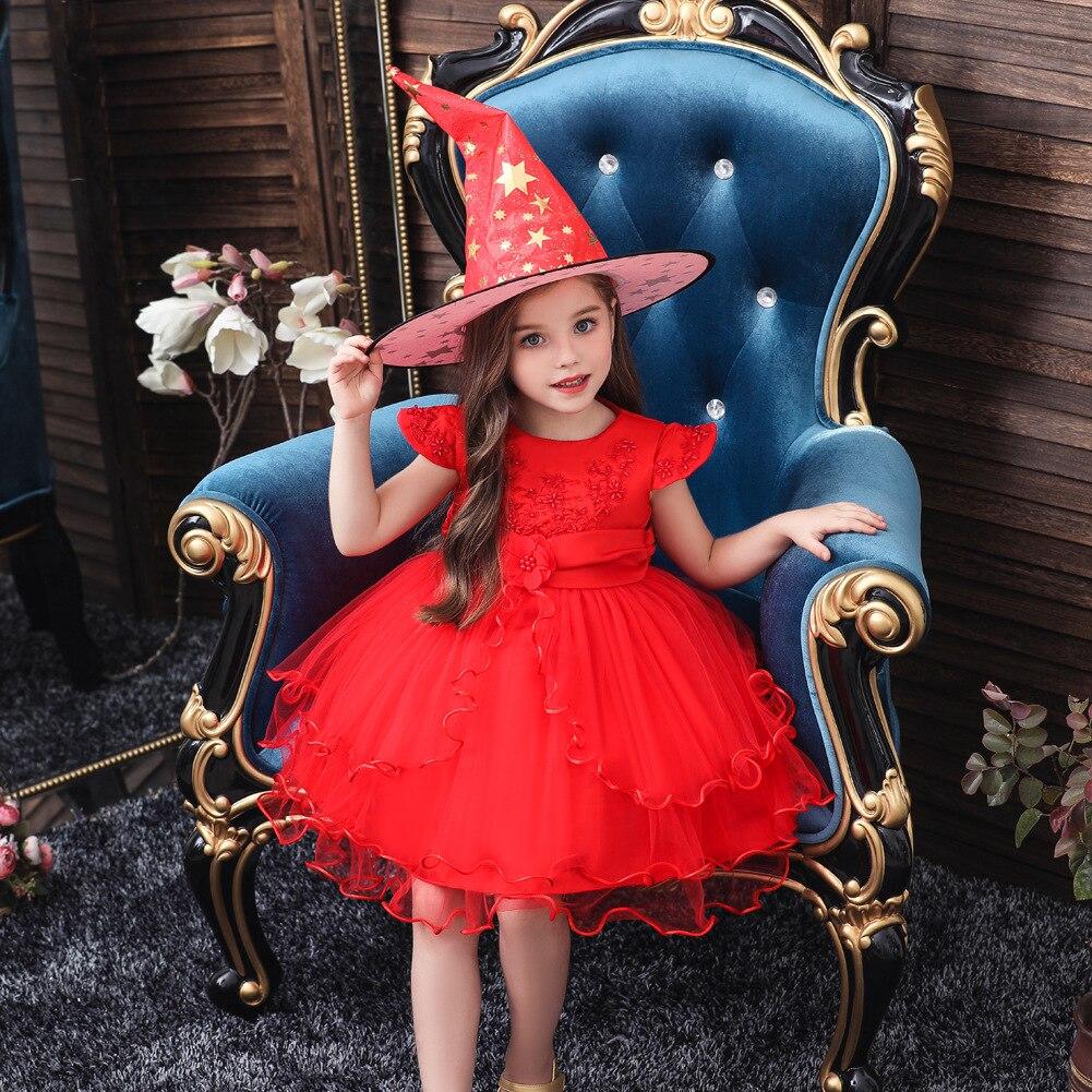 Hot Selling Halloween Cosplay Childrenswear Children Princess Short Sleeve Puffy Wedding Dress Stage Performance