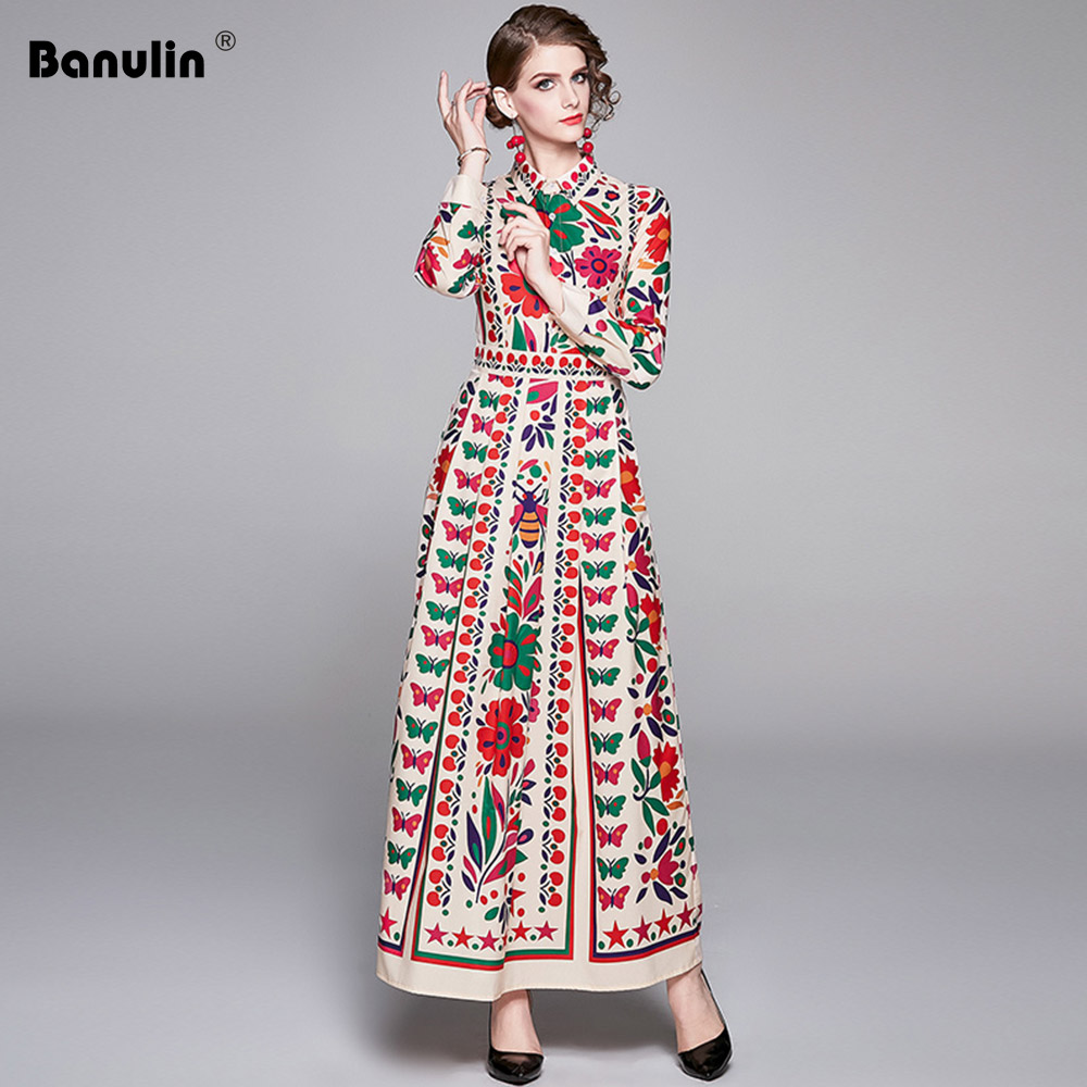 Newest 2020 Spring Long Maxi Dress Women's Turn Down Neck Long Sleeve Charming Floral Print Bohemia Casual Runway Dresses
