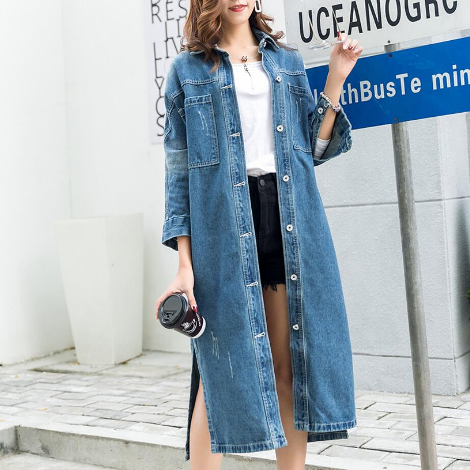 2019 New Style Autumn Women's Loose And Comfortable Medium Long Windbreaker Female Casual Denim Coat Tide R1596