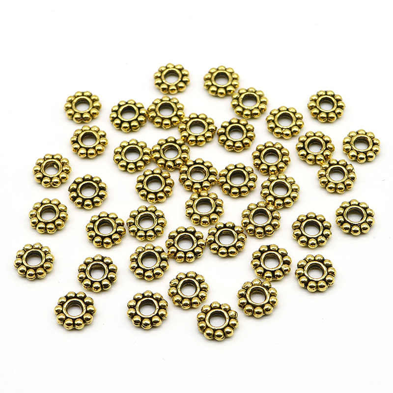 10 g about 100 PCs Tibetan Style Alloy Flower Daisy Spacer Beads 4 x 1.5 mm Antique Silver