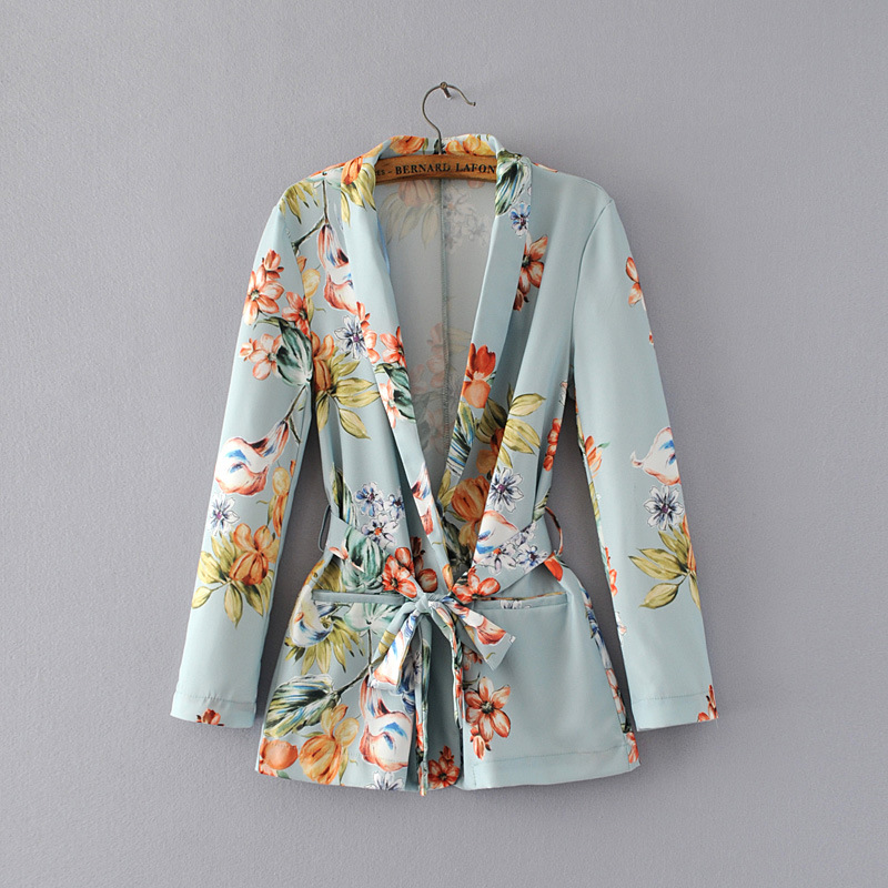 Women Blazer Bohemian 2019 Summer Outwear High Quality Printing Female Floral Vintage Ladies Coat For Lady Coat Female Blazer