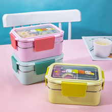 Portable Stainless Steel Lunch Box Double Layer Cartoon Food Container Box Microwave Bento Box for Kids Children Picnic School