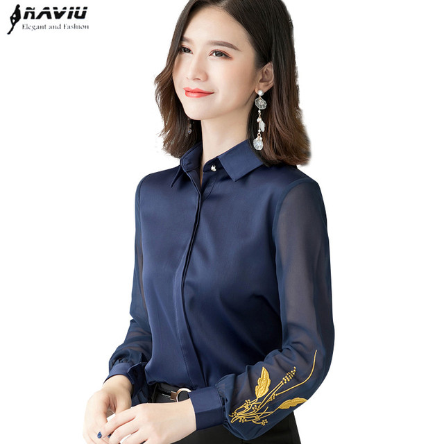 Professional Satin Shirt Women 2019 New Autumn Fashion Embroidered Long Sleeve Slim Blouses Office Ladies Work Tops