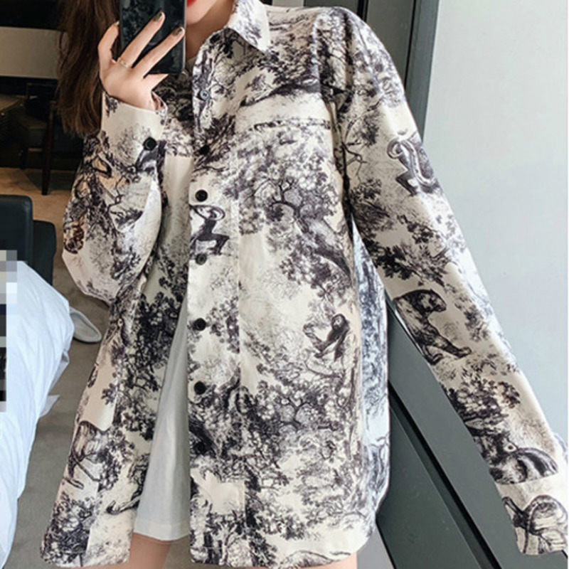XUXI 2019 Women Shirt New Summer Vintage Printing Korean Fashion Blouses Long Sleeve Turn-down Collar Blouse Clothes FZ0341