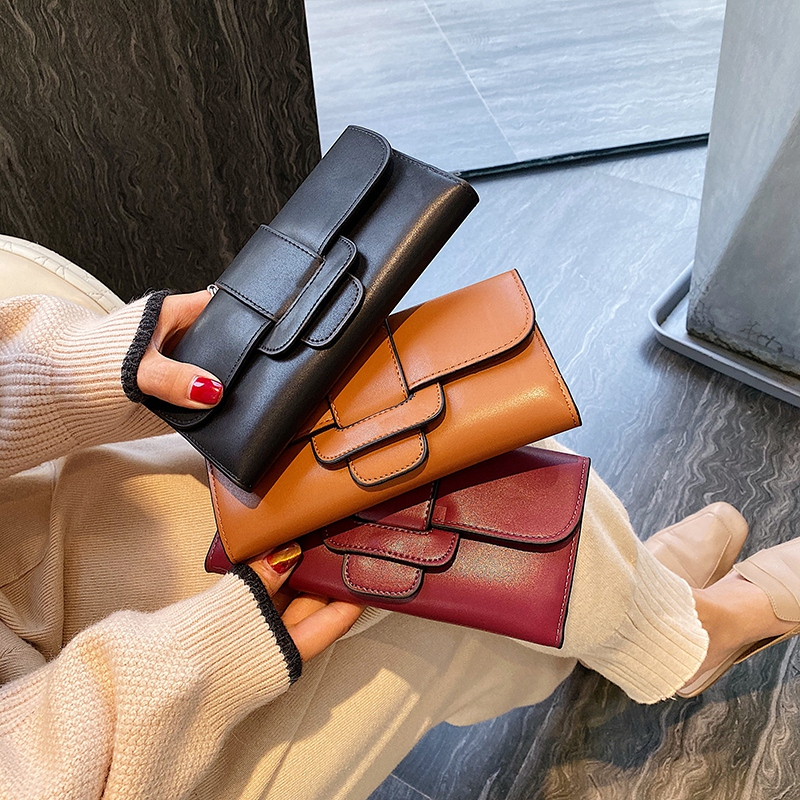 Women Trifold Wallets And Purses Vintage Women Long PU Leather Wallet Female Clutch Purse Hasp Female Phone Bag Girls Card Bags