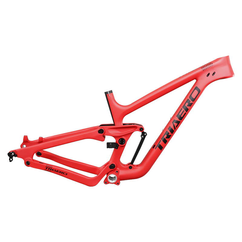 Carbon Fiber Full Suspension Mountain Bikes 27.5er Plus 200*51mm Rear Shock With Red Painting