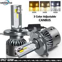 60W Fog Headlight H11 H1 H4 H7 LED Canbus No Error Car Light Bulbs 3 Colors 6000K 4300K 3000K 9005 9006 H8 Auto Fog Lights 12V