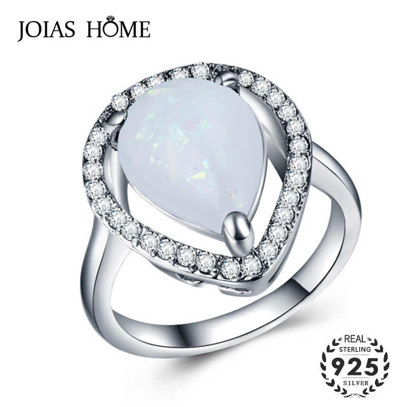 JoiasHome 925 Silver ring for women with water drop shape opal gemstones women fine jewelry party gift wholesale size 6-10