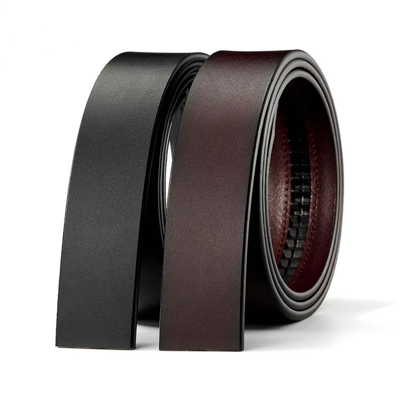 100% Real Cow Genuine Leather Belt No Buckle For Automatic Buckle Vintage Belt Body 3.50 Cm Width Black Brown Cowskin