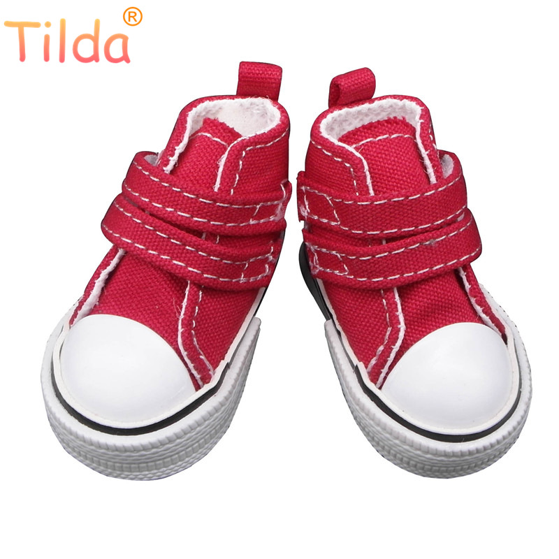 Tilda Fashion Shoes For Paola Reina Doll,Canvas Denim Toy Sport Shoes For Corolle,1/4 Bjd Doll Footwear Gym Sneakers For Dolls